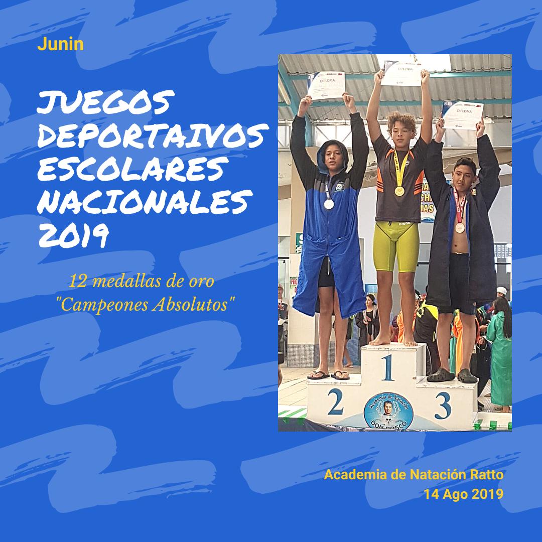 """""""Campeones Absolutos"""" de los Juegos Deportivos Escolares Nacionales 2019 - 14 de Agosto del 2019"""