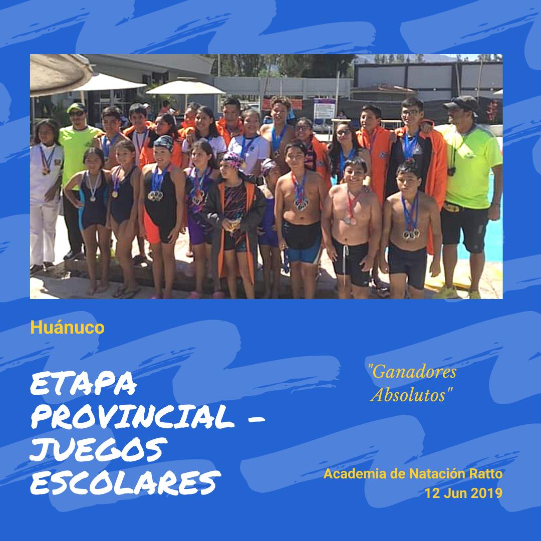 """""""Ganadores Absolutos"""" de la Etapa Provincial de los Juegos Escolares 2019 - 12 de Junio del 2019"""